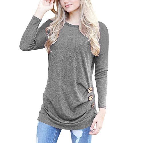 Damen Frauen Teenager Mädchen Langarmshirt MYMYG Lose Knopfleiste Bluse Solid Rundhals Tunika T-Shirt Pullover Streetwear Herbst Winter Top Bluse Shirt ()