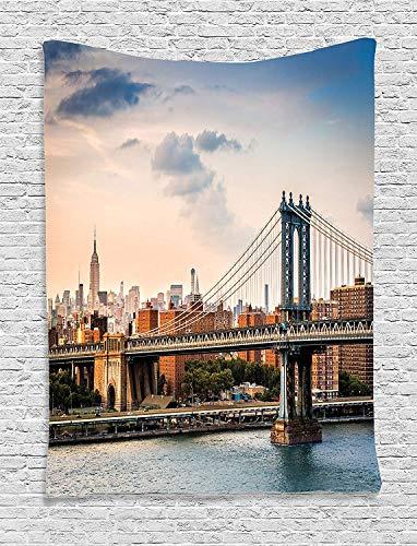Soefipok Wandbehang von NYC Decor Tapestry by, Manhattan Bridge und die New Yorker Skyline bei Sonnenuntergang East River Highrise Gebäude ikonische Stätten, Schlafzimmer Wohnzimmer Schlafsaal Dekor - New River Gebäude