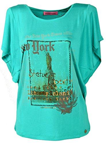 IWEA Exclusive Collection Damen T-Shirt kurzarm Top Rundhals Ausschnitt in New York Print - IW014, Türkis, 42