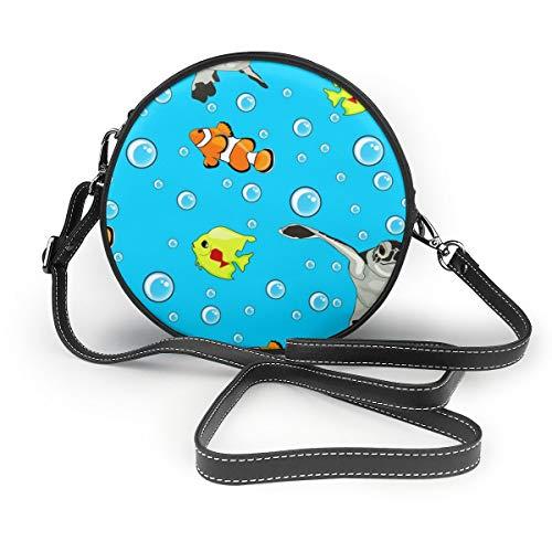 Meiya-Design Schultertasche/Clutch, Motiv: Meeresschildkröten und Clownfisch, rund, modisch, kreisförmig -