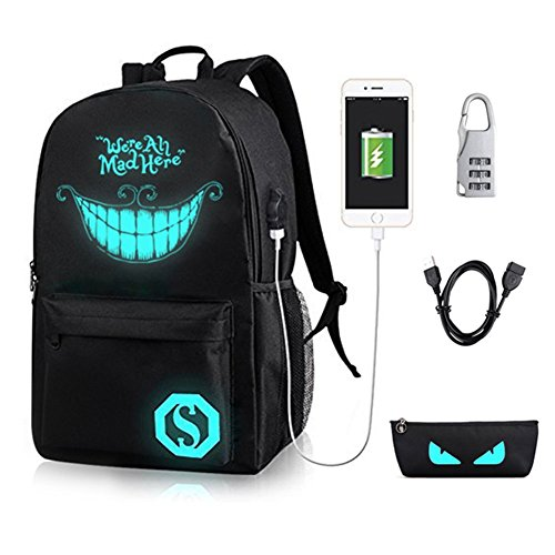 GAOAG College Laptop Backpack Under 15.6-inch with USB Charging Port and Lock for Youth Unisex Luminous Anime Oxford Nylon School Bag Black