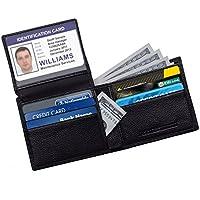 RFID Blocco Portafoglio del cuoio genuino, TECOOL Portafoglio uomo donna - Eccellente come Viaggi Bifold - Credit Protector Card - RFID Blocco Portafoglio