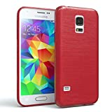 EAZY CASE GmbH Hülle für Samsung Galaxy S5 Mini Schutzhülle Silikon, gebürstet, Slimcover in Edelstahl Optik, Handyhülle, TPU Hülle/Soft Case, Backcover, Silikonhülle Brushed, Rot