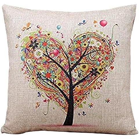 ZARU Caso decorativo del amortiguador de almohada cubierta de lino Plaza banda de lino de la almohadilla (beige)