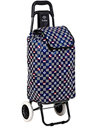 EverBest Foldable Shopping Trolley Bag (Blue Chess 2 Wheels)