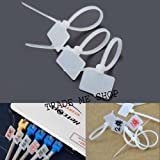 #8: 100pcs White Nylon Zip Cable Tie Label Strap Strip With Marking Tag