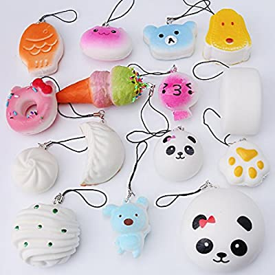 ZesGood 15pcs Medium Mini Soft Squishy Bread Toys Key Phone Chain Bread/Buns Phone Charm Key Chain Strap Squishy Bread Toys Squishies Slow Rising (Random Colour)