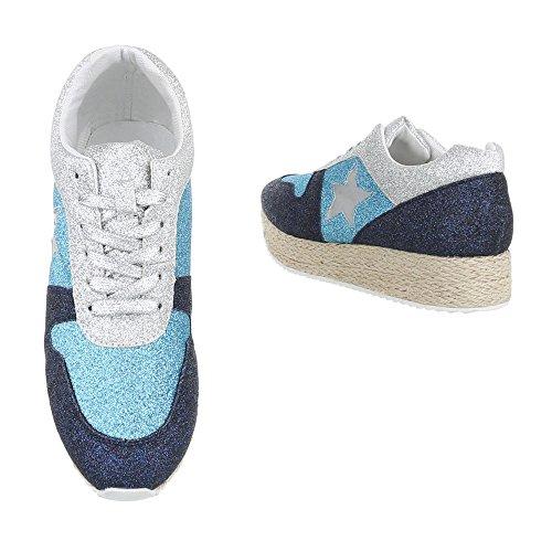 Low-Top Sneaker Damenschuhe Low-Top Sneakers Schnürsenkel Ital-Design Freizeitschuhe Blau Silber