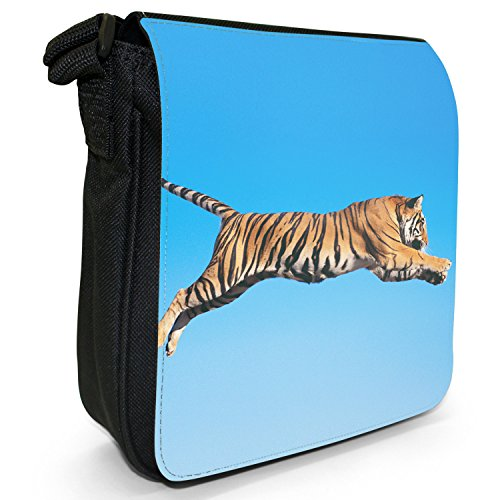 Wild Tigre Borsa a spalla piccola di tela, colore: nero, taglia: S Nero (Tiger Jumping In The Air)