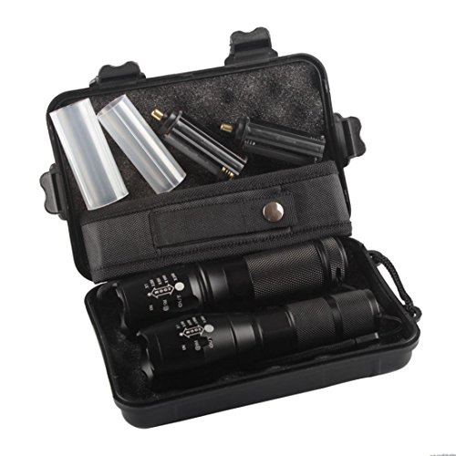 SUCES 2pc X800 taktische Taschenlampe LED Militär Grade G700 Taschenlampe Hochleistungs Tragbare Wasserdichte Taschenlampe fürs Freie mit Einstellbarem Fokus und 5 Lichtmodi für Campen Wandern (Black)