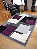Tempo Silver Purple Square Design Thick Quality Modern Carved Rugs. Available in 6 Sizes by Rugs Supermarket
