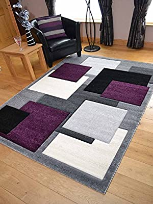 Tempo Silver Purple Square Design Thick Quality Modern Carved Rugs. Available in 6 Sizes - low-cost UK light store.