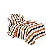 HESOA LA BettwäSche Bettbezug Baumwollstoff Bettlaken Kissenbezug Vierteiligem Streifen,Orange,Double