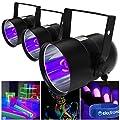 beamz 3x Ultraviolet Glow Disco DJ PAR Can Lights Halloween Party Lighting Effect