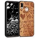 kwmobile Cover in Legno per Huawei P20 Lite - Custodia Rigida con Bumper in Silicone TPU Hard Case in Legno di ciliegio con Design Wood Love Marrone/Marrone Scuro - Wood Cover