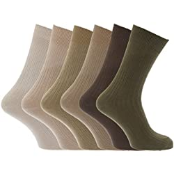 Calcetines clásicos acanalados 100% algodón hombre/caballero - Pack de 6 pares de calcetines