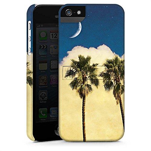 Apple iPhone 4 Housse Étui Silicone Coque Protection Palmiers Nuage Croissant de lune CasStandup blanc