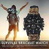 halonzhor Survival Armbanduhr Wandern Rettung Armband Travel Watch Bracelet mit Paracord Kompass Whistle Zurrgurte Camping Erste Hilfe Klettern Bergsteigen Wandern Trekking Abenteuer Bergsteigen