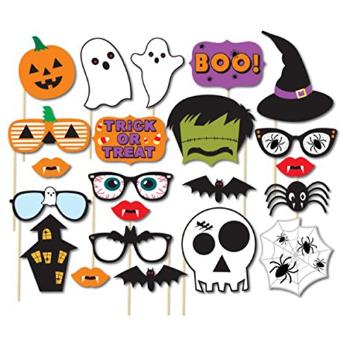 Halloween Requisiten (Halloween Fotorequisiten Fotoaccessoires Foto Booth Stützen Halloween Stützen Boo Kürbis Ghost DIY Kit für Party Supplies)