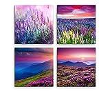 Sinus Art 4 Bilder Set je 40x40cm Lavendel Blumenwiese Sommer