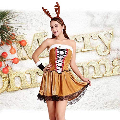 KAIDILA Gelbe weihnachtskostüm Sexy Cosplay verdicken Gold samt Kleid Elch Spiel Weihnachten Geschenke Rentier Weihnachten Dres SES (Gold Kleider Weihnachten)