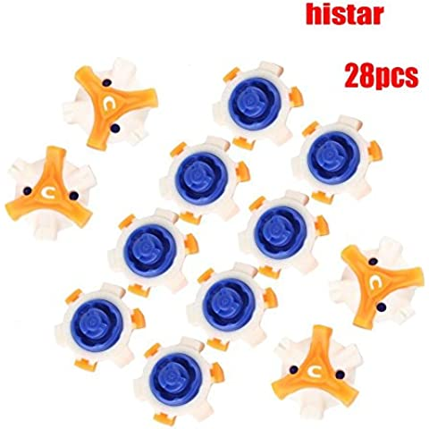 histar 28pcs Spikes Scarpe da golf Anti Scivoli Fast Twist Tri-Lok di ricambio per FootJoy, Blue & Yellow & White