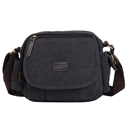 Eshow Herren Canvas Freizeit Täglich Outdoor Multi Bag Umhängetasche Schultertasche Taschen Schwarz