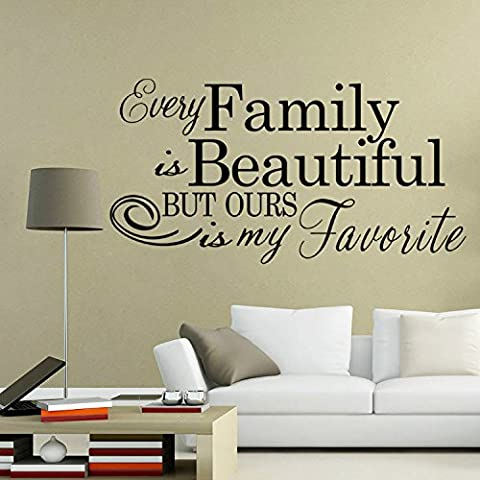 Yanqiao 110x 56,9cm Harmony Famiglia serie inglese parole Wall Art in vinile per salotto stamza Kindergarten rimovibile in vinile DIY adesivi stile semplice Art Home Decoration Black