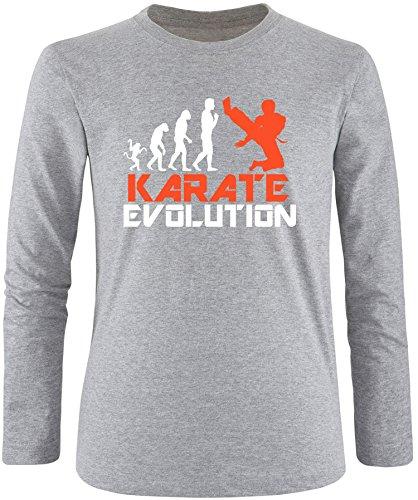 EZYshirt® Karate Evolution Herren Longsleeve Grau/Weiss/Orange