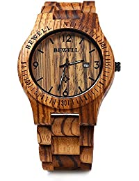 amazon co uk bewell watches gblife bewell zs w086b mens wooden watch analog quartz movement date display retro style