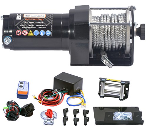 Preisvergleich Produktbild Power Series® 12V Elektrische Seilwinde 3000 Eco mit Funkfernbedienung und Handschalter - Zugkraft 1360 kg (Stahlseil) / 2720 kg (mit Umlenkrolle)