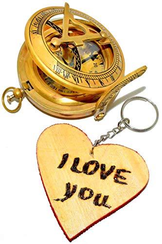 laiton Boussole militaire ou navires nautique Style montre de poche Cadran solaire Boussole Fonctionnement Laiton vintage Boussole avec finition antique 2 pcs