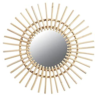 Aubry Gaspard Spiegel, rund, Sonnen-Form, Rattan, Durchmesser: 55 cm