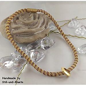 Halskette - Farbe: champagner-gold-bordeaux mit Großlochperle - Unikat
