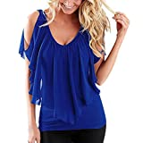 Damen Sommer Irregulär Bluse Cut Out Shoulder v-Neck Floral Schulterfrei Off Shoulder Shirts Tops (44/3XL, Blau)