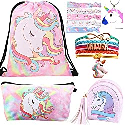 5 Paquete Lindo Unicornio Mochila con cordón/Maquillaje/PU Monedero Bolsos de Embrague/Collar de Cadena de aleación/Unicornios para el Cabello para niñas (Style 4)