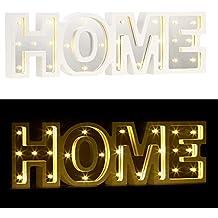 Lunartec Dekobuchstaben: LED Schriftzug Home Aus Holz U0026 Spiegeln Mit Timer  U0026 Batteriebetrieb (