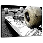 Skateboard wheels size: 60x40 cm Image strung on canvas, huge XXL images completely finished and framed with stretcher, Art print on wall picture with frame, cheaper than painting or picture, no posters or poster