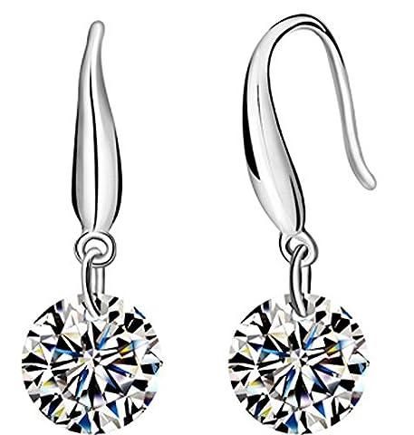 SaySure - 925 Sterling Silver Earrings Clear Crystal Drop Earrings
