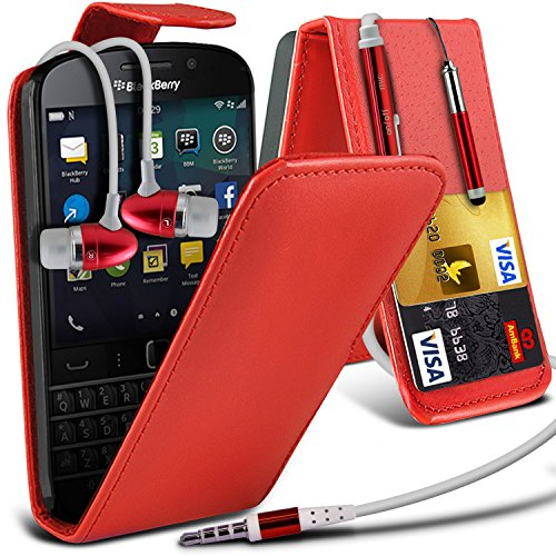 Aventus ( Red ) Blackberry Q20 Classic custodia, caso, Case Cover Protective Elegant PU Leather Flip With Credit / Debit Card Slot Case Skin Cover With LCD Screen Protector Guard, Panno & Mini penna stilo a scomparsa