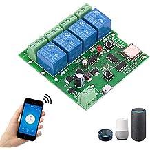 EACHEN WiFi Inlay inalámbrico Relé Momentáneo/Autoblocante Interruptor Inteligente DIY Hogar inteligente Gadget DC 5-32V Entrada Aplicación Ewelink Compatible con Alexa Google Nest IFTTT (ST-DC4)