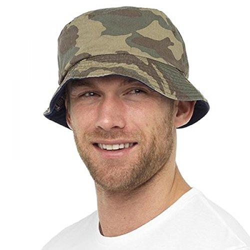 Rjm Mens Reversible Camouflage Bucket Bush Summer Sun Hat