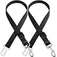 H&S. 2 Dog Car Seat Belt Lead Restraint Harness Seatbelt Attachment Clip Black