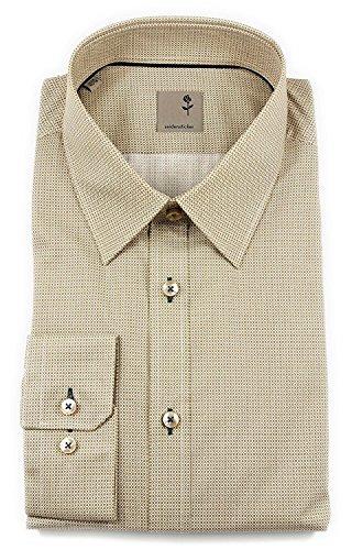 Seidensticker Herren Langarm Hemd Schwarze Rose Slim Fit Modern Kent Print braun / weiß strukturiert 243100.23 Taupe