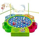 Angeln Spielzeug mit 4 Angelruten und 42 Fisch mit Musik Ausschaltbar für Kinder 3 Jahre (Farbe zufällige Lieferung)