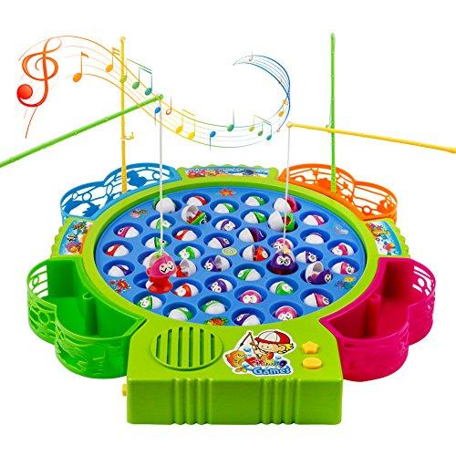 Angeln Spielzeug mit 4 Angelruten und 42 Fisch mit Musik Ausschaltbar für Kinder 3 Jahre (Farbe zufällige Lieferung) Kinder-angeln