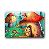 Vidmkeo Cartoon Cute Mushroom House Customer Non Slip Washable zerbino Fashion Unique Top Washable zerbinos/Outdoor Door Mat Gate Pad 23.6 X 15.7 inch Indoor/Outdoors