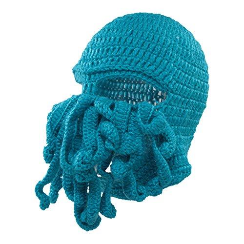 CHIC-CHIC Winter Strick Mütze Häkeln Beanies Warm Mask Lustig Krake Mask Beard Caps Herren Damen Unisex (Blau) (Captain Davy Jones Kostüm)