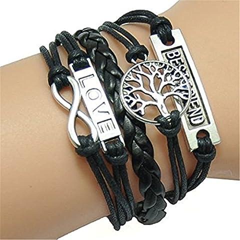 Best Friend LOVE TREE Infinity Silber Farbe schwarz Wachs Bindekordeln Leder geflochtenes Leder Armband
