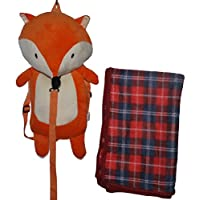 The Enchanted Co Award Winning Childrens Kids Boys Girls Rucksack Backpack Character Animal School Holiday Spacious Bag With Plush Pillow Cushion Travel Blanket & Detachable Reins Harness (Zed Fox)
